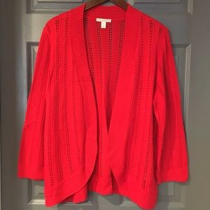 Dana Buchman Red Crochet Cardigan Sweater Large